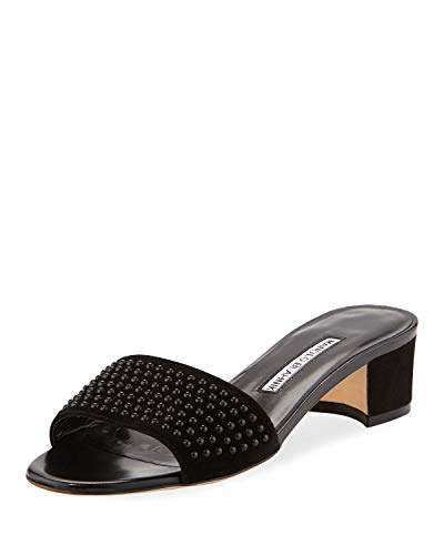 Manolo Blahnik Falcopearl Studded Suede Slide Sandals 37 ()