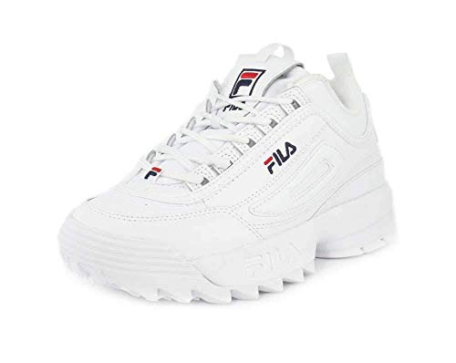 c216827d138 Fila Women's Disruptor II Premium Sneakers, White/Fila Navy/Fila Red, 10.5
