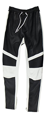 Balmain Men's Black/White Leather Sweat Pants Size Medium