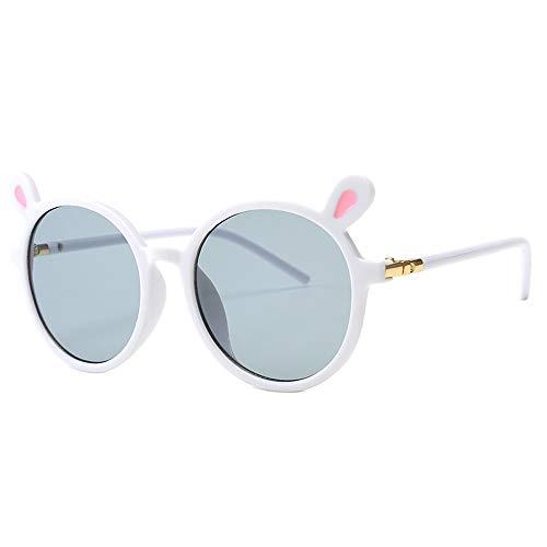 (Toddler Children Cute Animal Cartoon Sunglasses UV400 Sun Glasses Goggles Eyewear For Baby Girls&Boys Gift (Gray Lens/White Frame))