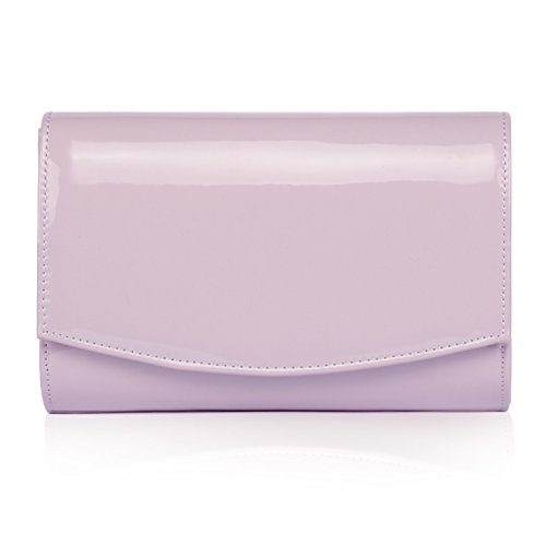 Lavender Patent Wallets Bag Solid wallyn's Purses Fashion Evening Leather Handbag Women Clutch Color qFEdwB78x
