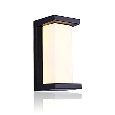 LIGHTESS Outdoor Sconce LED 10W, Exterior Wall Lights Waterproof Black Light Fixtures, Warm White, 3000K
