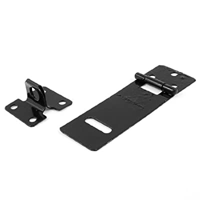 "Water & Wood Sheds Gates Door Latch Black Metal Hasp Staple Set 3"" Length"