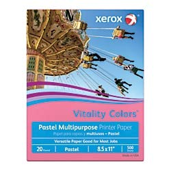 Xerox Vitality Colors Multipurpose Printer Paper, Letter Size Paper, 20 Lb, 30% Recycled, Cherry, Ream of 500 Sheets ()