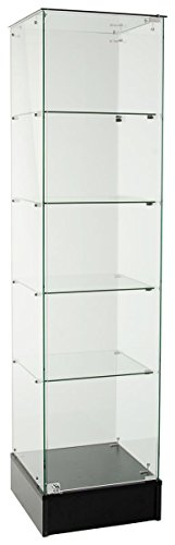 Displays2go Tall Glass Frameless Showcase, Tempered Glass, Laminated Particle Board – Black (FRCNRBLK) - Glass Display Showcase