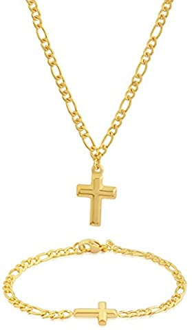 EDFORCE Stainless Steel 20 inch Women's GOLD Figaro Chain Necklace Cross Pendant Matching Figaro Link Bracelet Classic (Gold Cross Necklace 20 Inch)