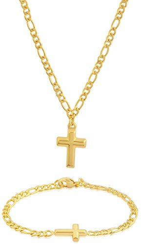 EDFORCE Stainless Steel 20 inch Women's GOLD Figaro Chain Necklace Cross Pendant Matching Figaro Link Bracelet Classic