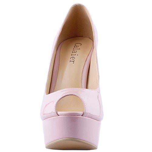 Calaier Femmes Plate-forme 15 Cm Stiletto Mariage Parti De Bal Haut Talon Pompes Chaussures Beige