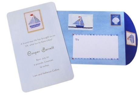 - Baby Boy Blue Sailboat Theme Personalized Your Own Cards Birthday Birth Announcement Cards - Pack of 10 by Garner