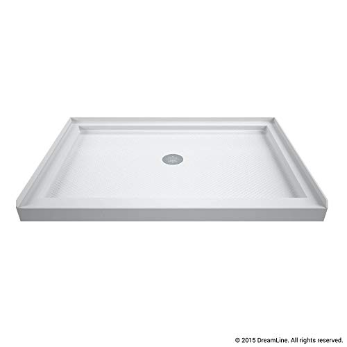 DreamLine SlimLine 36 in. D x 48 in. W x 2 3/4 in. H Center Drain Single Threshold Shower Base in White
