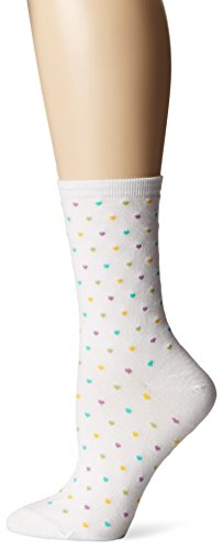 - Hot Sox Women's Originals Classics Novelty Crew Socks, Pindot Heart Repeat (White), Shoe Size: 4-10