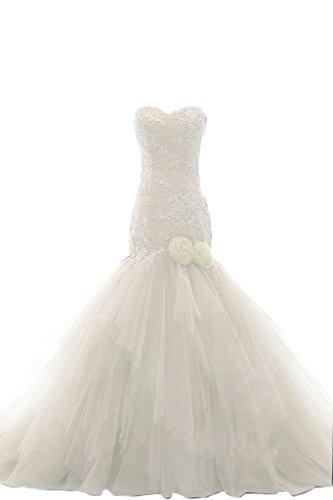 Women's Romantic Beach Print Floral Wedding Dresses Sweetheart Off Shoulder Bridal Gown ()