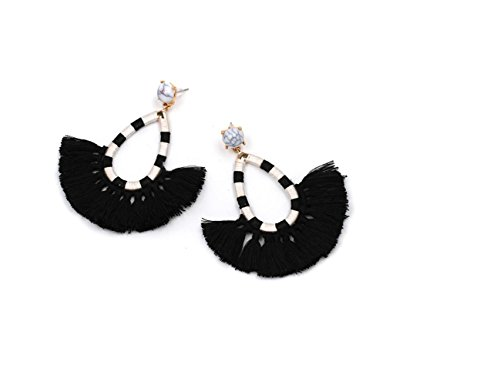 New Semi Circle Tassel Earrings C Shape Simple National Romantic Earrings Ornaments (Stripe Black) - Simple Semi Circle