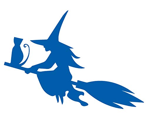 Halloween Silhouette of The Witch CAT Flying ON The Broom (Azure Blue) (Set of 2) Premium Waterproof Vinyl Decal Stickers for Laptop Phone Accessory Helmet Car Window Bumper Mug Tuber Cup Door Wall -