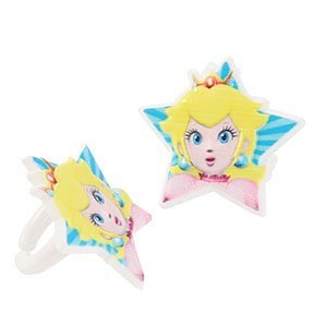 [Super Mario Bros Princess Peach Cupcake Rings - 24 pc by Nintendo] (Daisy Mario Kart Costume)