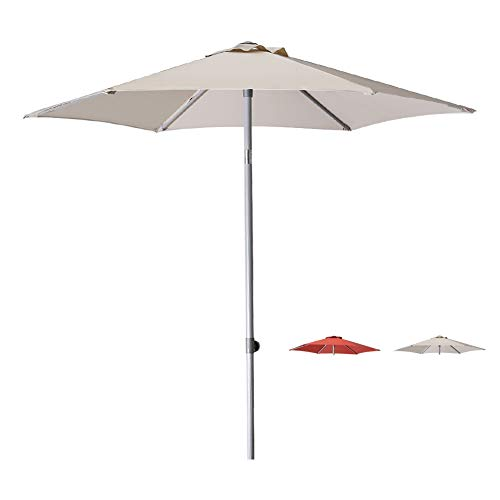 Patio Umbrella 7.5 Ft Outdoor Garden Table Umbrella Adjustable Height with Push Button Tilt,Beige