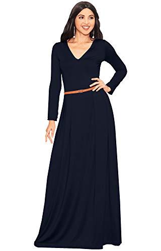 KOH KOH Plus Size Womens Long Full Sleeve Sleeves V-Neck Formal Fall Evening Elegant Flowy Empire Waist Modest Vintage Abaya Muslim Gown Gowns Maxi Dress Dresses, Navy Blue 2XL 18-20