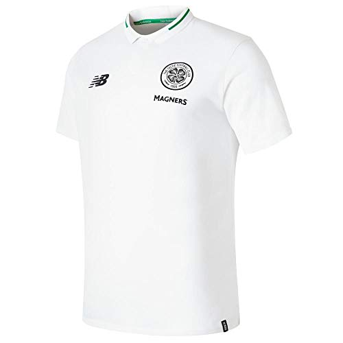 New Balance 2018-2019 Celtic Elite Leisure Essential Polo Football Soccer T-Shirt Jersey (White)