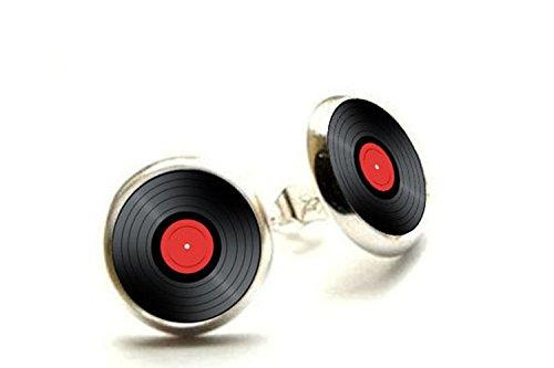 (Vinyl Record Stud Earrings - Retro music Earrings)