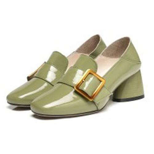 Pump ZHZNVX Heels Nappa Heel Fall Shoes Black Green Leather Camel amp; Basic Spring Chunky Black Comfort Women's rfzRxr