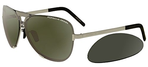 Porsche Design P8678 B Silver Aviator Mens Sunglasses Interchangeable ()
