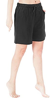 WEWINK CUKOO Women Pajamas Shorts Cotton Sleep Shorts Stretchy Lounge Shorts with Pockets