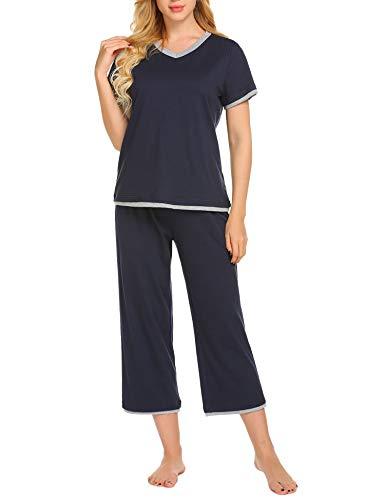 Ekouaer Women's Pjs Cotton Sleepwear Top Shirt and Pants Set Plus Size, Navy, Large ()