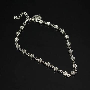 Tibetan Silver Daisy Flower Heart Pendant Chain Anklet Ankle Bracelet