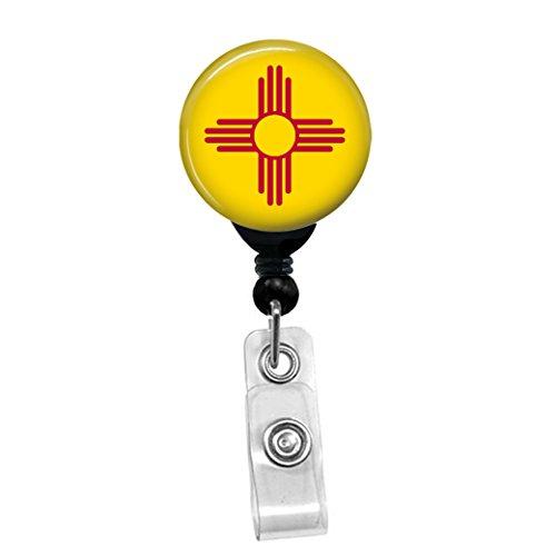 New Mexico State Flag -Retractable Badge Reel - ID Name Tag Custom Badge Holder (Black Badge Reel with Belt Slide Clip)