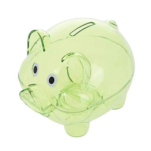 AYUNYUN Transparent Plastic Money Saving Box Case Coins Cartoon Pig Shaped Piggy Bank Kids ()