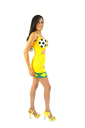 Soccer Fan Dress Brazil with Ball Cups