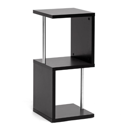 Baxton Studio Lindy 2-Tier Modern Display Shelf, Dark Brown