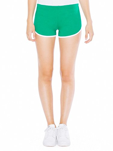 American Apparel Women's Interlock Running Short, Kelly Green/White, Medium ()