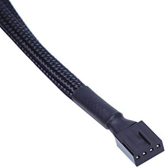 Cable Length: 26cm Connectors 1 to 2 Way Y-Splitter Sleeved 4-Pin PWM Connector Cooler Cooling Fan Extension Adapter Cable for CPU or Computer Box Fan