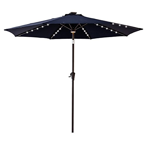 ight Patio Outdoor Market Umbrella with Crank Lift, Push Button Tilt, Navy Blue ()