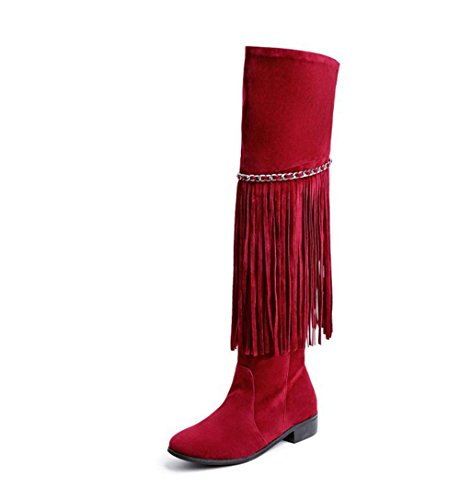 HETAO Knight Gift Boots A Fashion Over Tassel Shoes Red Women Size Wedding Heels High Boots Party Boots Knee Large Boots Ladis qw4qHr