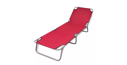 Comfyleads Foldable Sunlounger Adjustable Backrest Red 74.4'' x 22.8'' x 10.6'' by Comfyleads