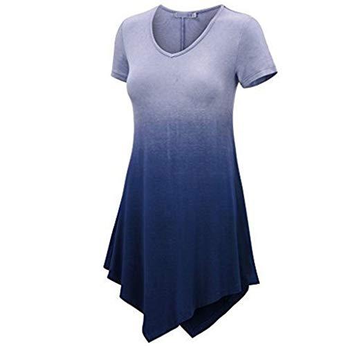 Sunhusing Ladies Casual V-Neck Gradient Colorblock Short Sleeve Irregular Hem Dress Evening Party Mini Dress Dark Blue