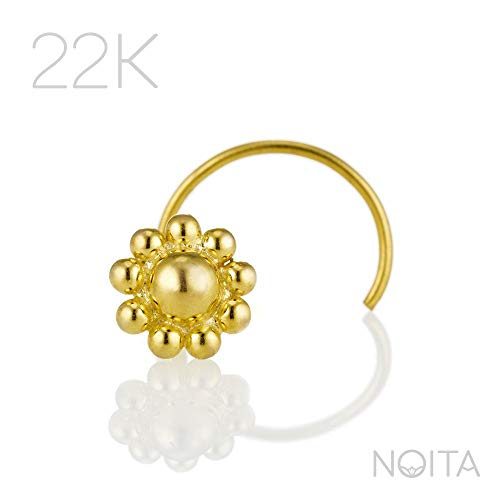 Unique Nose Stud, 22K Gold Indian Style Flower Nose Ring, 20g, Fits Tragus Piercing, Cartilage, Helix Earring, Handmade Body Jewelry ()