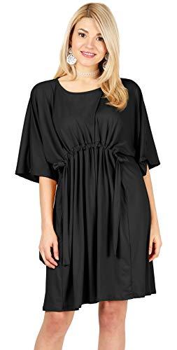 Black Dresses for Women Black Empire Waist Dress Drawstring Casual Dress Black Dolman Sleeve Dress (Size XX-Large US 16-18, Black) ()