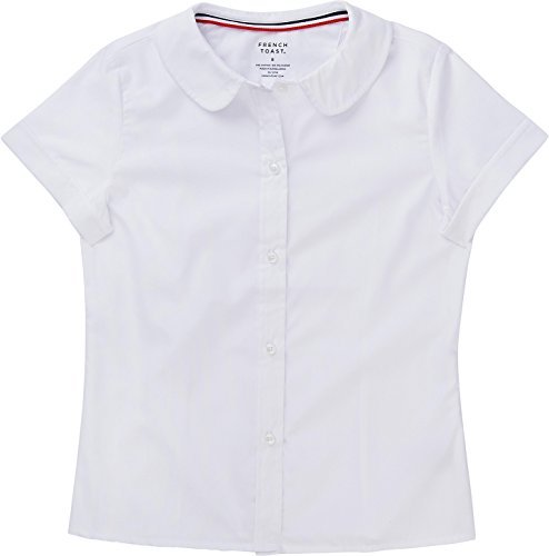 French Toast School Uniform Girls Short Sleeve Modern Peter Pan Blouse, White, 10