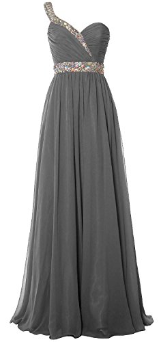 MACloth Women One Shoulder Crystals Long Prom Dress Chiffon Evening Formal Gown Gris