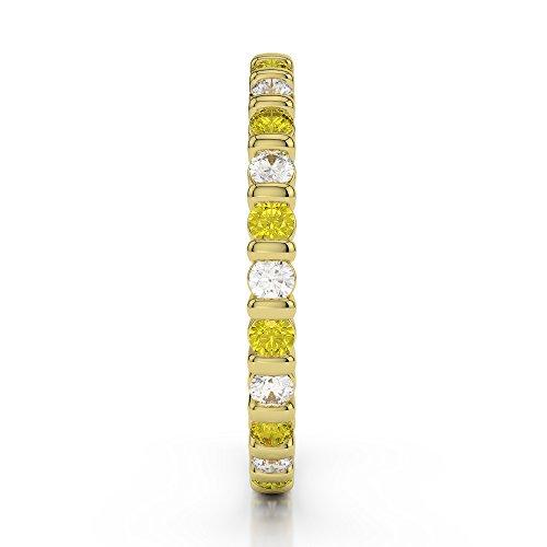 Or jaune 18carats 1/2ct G-H/VS sertie de diamants ronds Cut Saphir Jaune et éternité Bague Agdr-1092