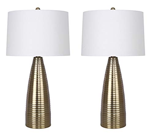Grandview Gallery 27.75 Plated Gold Metal Table Lamp Set Featuring Ribbed Body Design and Off-White Linen Tapered Drum Shades – Contemporary Lighting for Any Room Set of 2