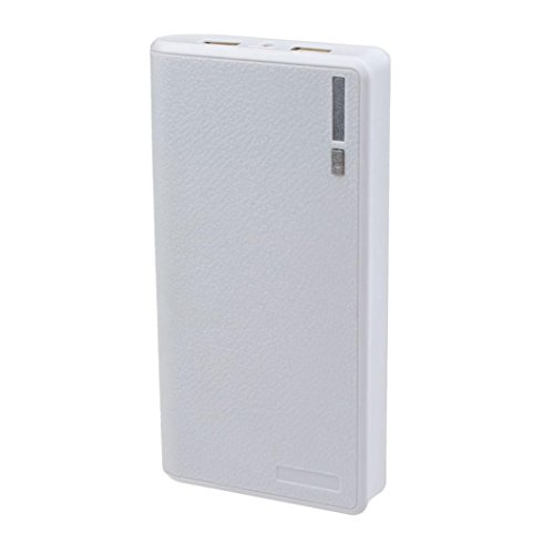 Yoyorule Dual USB 5V 2A 6x 18650 Power Bank Battery Case Box Charger (White)