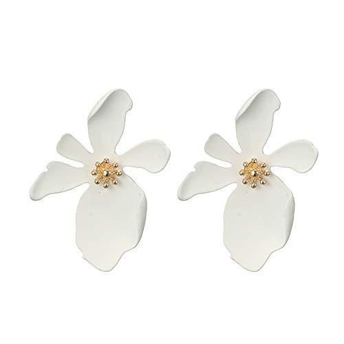 (LODDD Women Casual Earrings Fresh Temperament 5-color Cute Petal Flower Earrings Alloy Earrings)