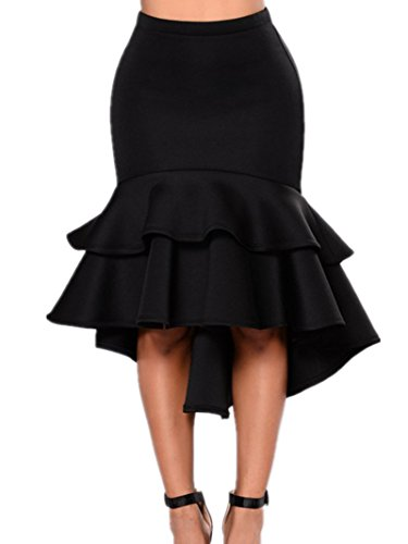 Sorrica Women's Sexy High Waist Party Work Bodycon Mermaid Pencil Midi Skirt (M(US 4-6), Black)
