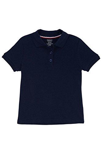 French Toast Big Girls' Short Sleeve Interlock Polo With Picot Collar, Navy, X-Large/14/16 (Sleeve Short Shirt Blue Uniform)