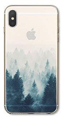 DECO FAIRY Compatible with iPhone x / xs, White Winter Tree Mount Everest Xmas Alps Hills Valleys Nature Series Transparent Translucent Flexible Silicone Clear Cover - Everest Tree Christmas