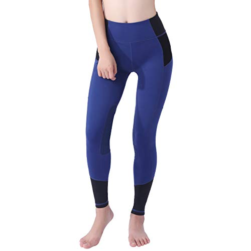 OKAY SPORTS Women's Breathable Horse Riding Tights Knee Patch Grip Equestrian Pants Schooling Riding Breeches (Blue/Black, ()